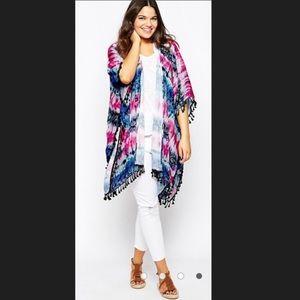 Asos Alice & You pink blue Tie Dye Fringe Kimono